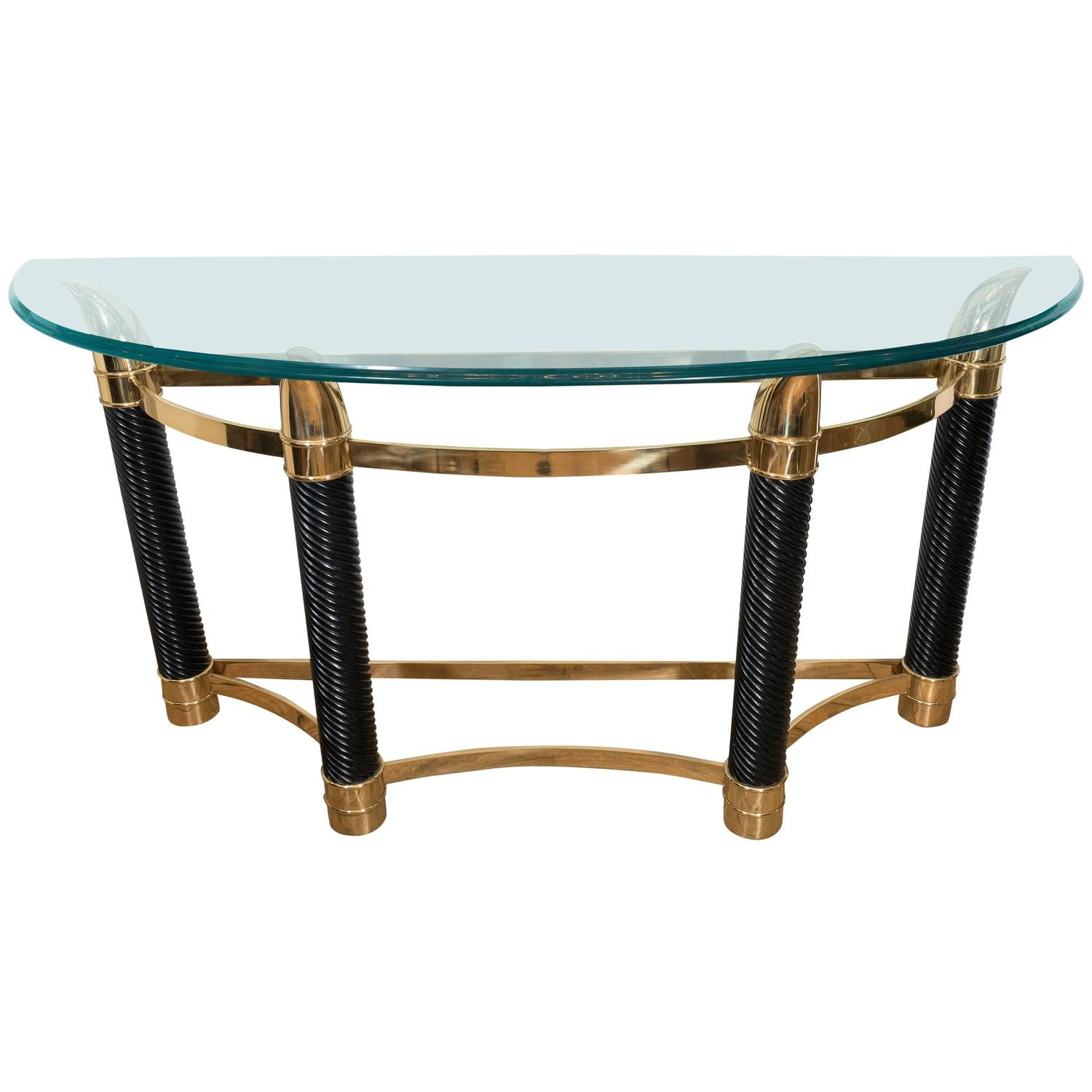 Italian Mezza Luna Console Table with Horn Shaped Base and Beveled