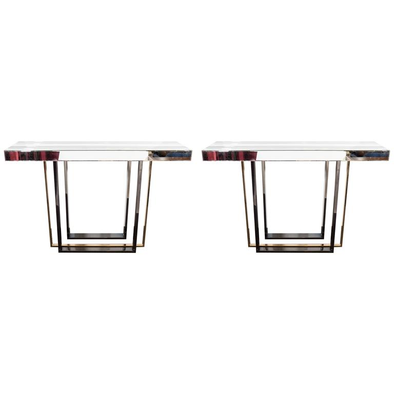 Pair of contemporary mirrored console tables at 1stdibs - Modern console table with mirror ...