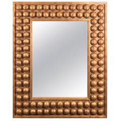 A Midcentury Italian Wall Mirror with Modernistic Giltwood Frame