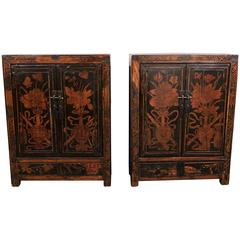 Pair of Chinese 18th Century Lacquer Cabinets