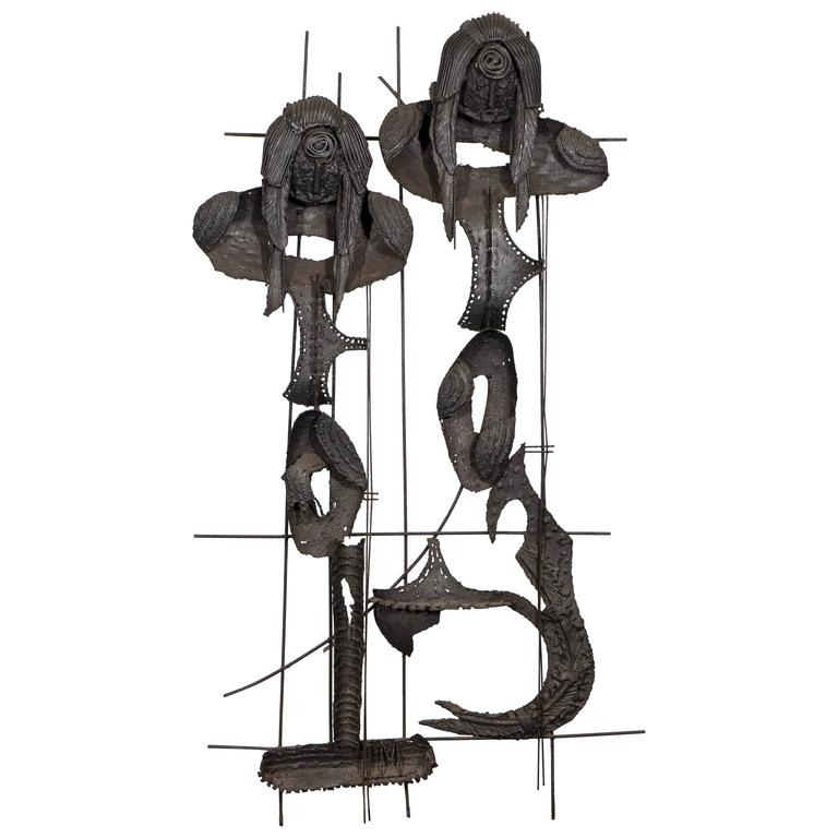 Brutalist Iron Wall Sculpture of Two Mermaids in the Style of Paul Evans
