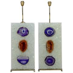 Pair of Table Lamps in Resin and Agate.