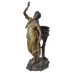 Bronze Orientalist Figural Floor Jardiniere by Peyre