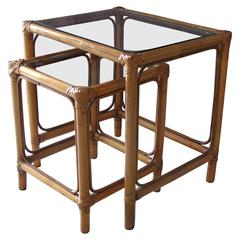 1960s Rattan Side Nesting Tables