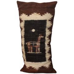 Fantastic Peruvian Indian Lama Lambs Wool Bolster Pillow