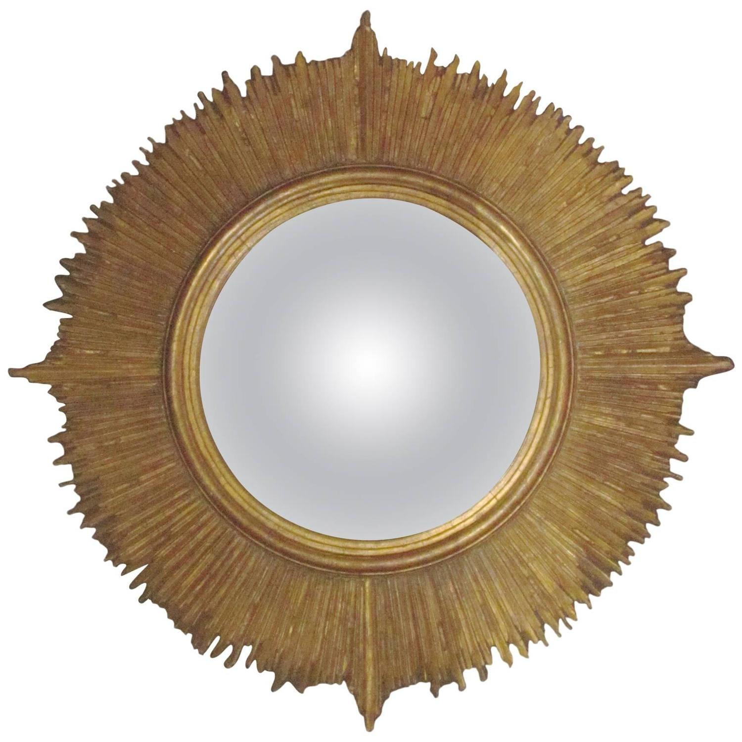 Sunburst gold gilt large convex mirror france 1950s at for Big gold mirror