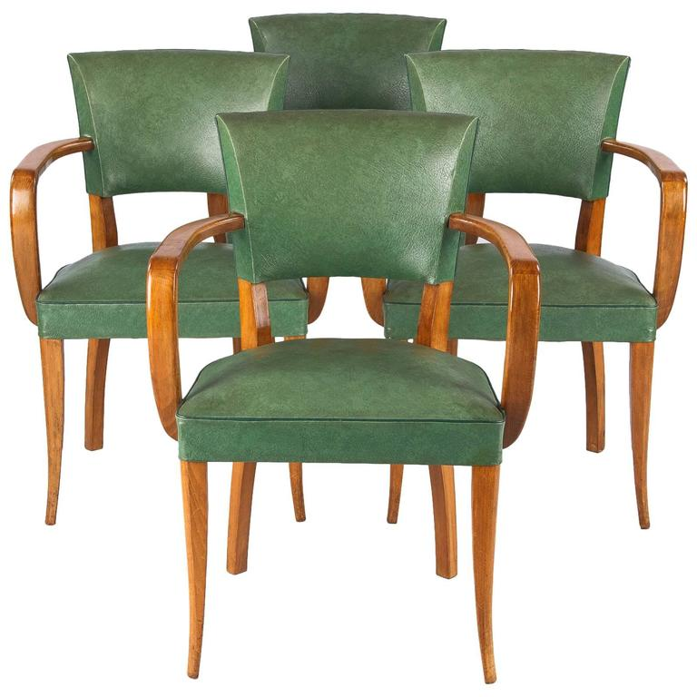 Set of Four French 1940s Bridge Armchairs