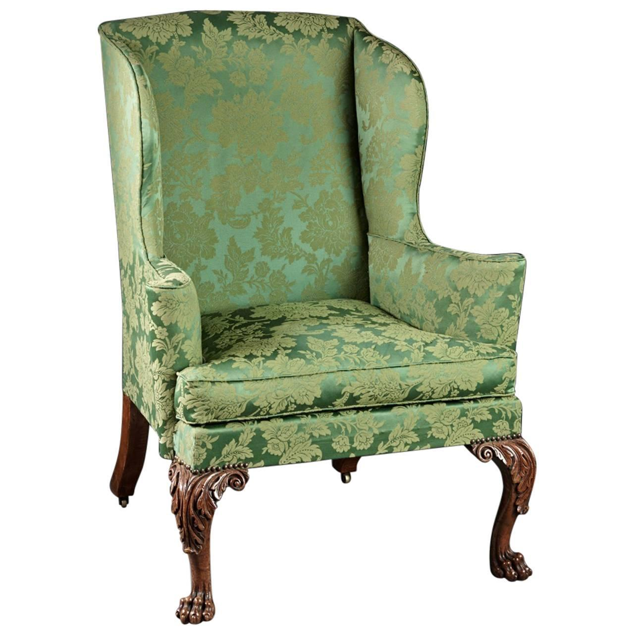 Finely Carved And Upholstered Walnut English Georgian 18th