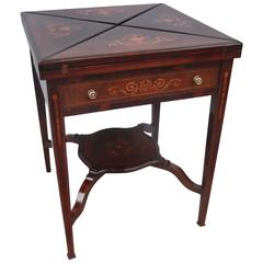 Antique English Rosewood Game Side Table with Satinwood Inlay