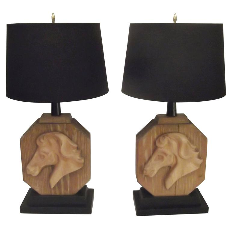Pair of Heifetz Table Lamps in Limed Oak