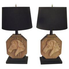 Pair of Heifetz Table Lamps in Limed Oak