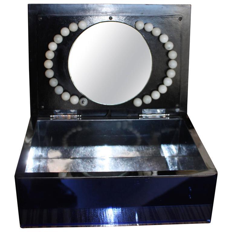 Vanity Mirror With Lights Dresser : Art Deco Light-Up Vanity Mirror Dresser Box For Sale at 1stdibs