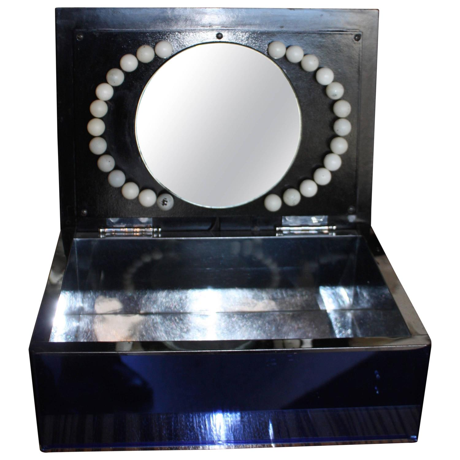 Vanity Light Up Mirror : Art Deco Light-Up Vanity Mirror Dresser Box For Sale at 1stdibs