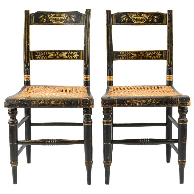 Pair of American Painted New England Side Chairs with Cane Seats For Sale - Pair Of American Painted New England Side Chairs With Cane Seats For