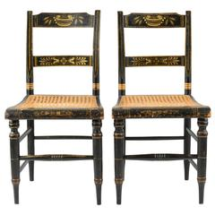 Pair of American Painted New England Side Chairs with Cane Seats