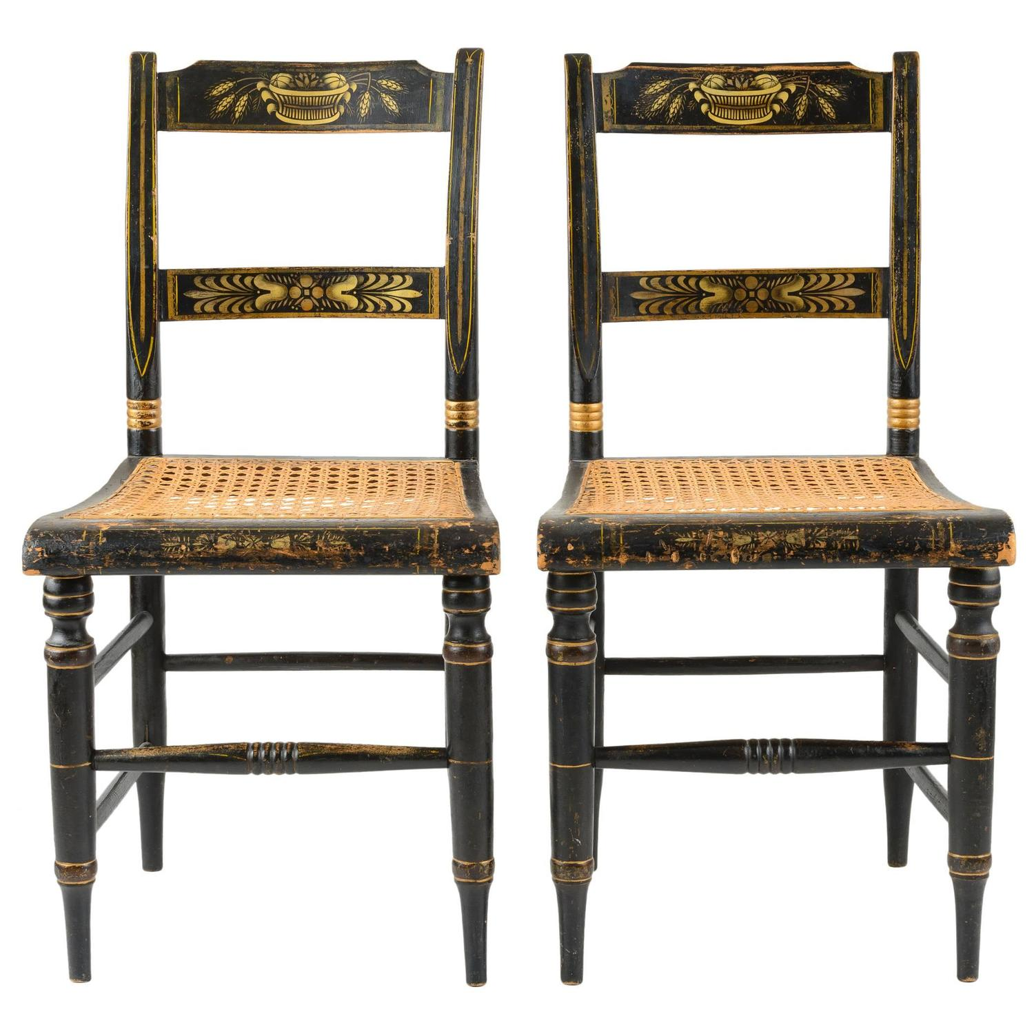 Pair Of American Painted New England Side Chairs With Cane
