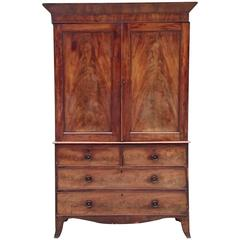 Regency Flame Mahogany Antique Linen Press