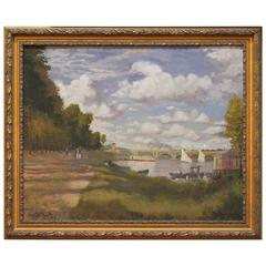 French Impressionist Oil on Canvas after Claude Monet by N.K. Gibbs