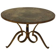 1940s French Circular Hand-Hammered Iron Coffee Table with Verre Églomisé Top