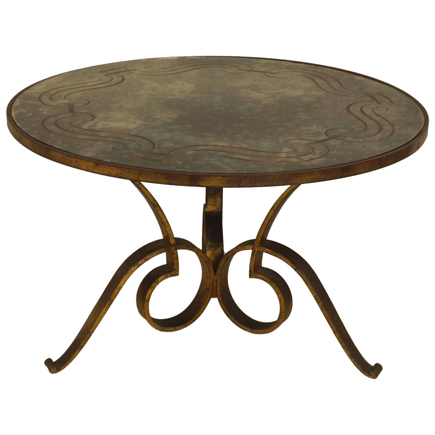 1940s French Circular Hand Hammered Iron Coffee Table With Verre Glomis Top At 1stdibs