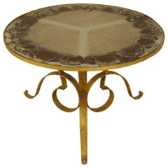 1940s French Circular Gilt Iron Coffee Table with Verre Églomisé Top