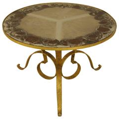 1940s French Circular Gilt Iron Coffee Table with Verre Églomisé Top