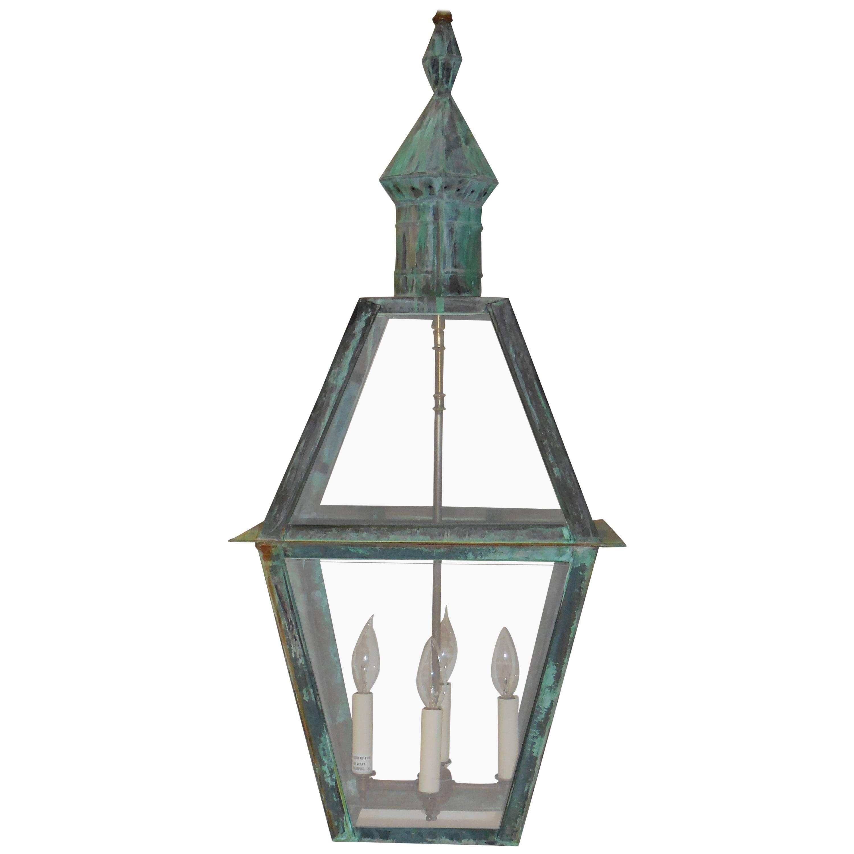 Large Hanging Solid Copper Lantern