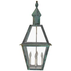 Large Hanging Solid Copper Lantern