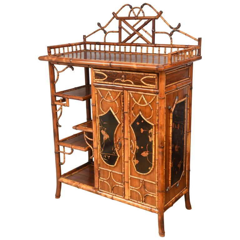 Rare 19th century superb english bamboo cabinet at 1stdibs for Bamboo kitchen cabinets for sale