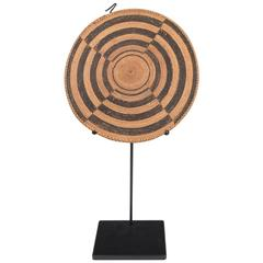 Woven Rattan Disc on Metal Stand