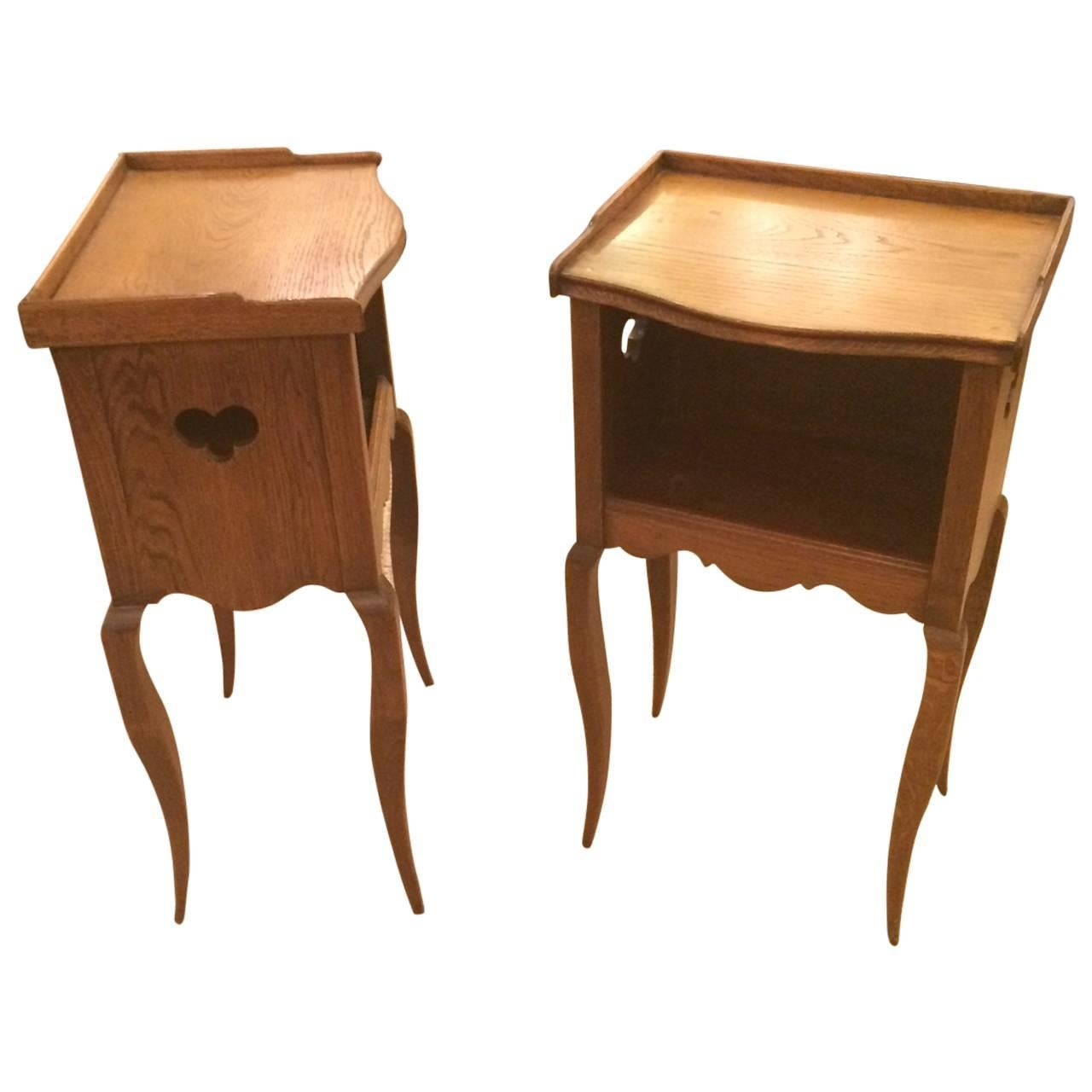 Pair of Charming French Oak Night Stands Table de Nuit