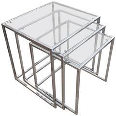 Sleek Midcentury Modern Glass and Chrome Nesting Tables