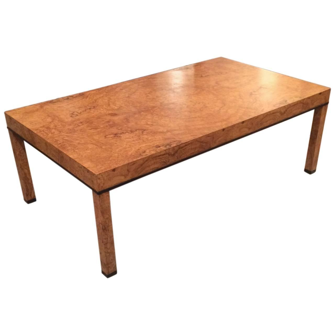 Parsons Style Burl Olive Wood Coffee Table For Sale At 1stdibs