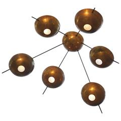 Large Brass Italian Starburst Chandelier in the Style of Stilnovo