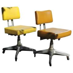 Mid 20th Century Industrial Goodform Swiveling Task Chairs