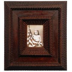 Deeply Layered Tramp Art Portrait Frame