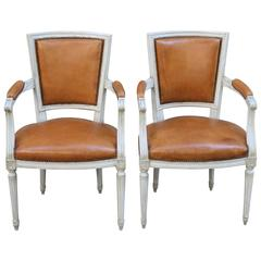 Pair of Armchairs or Fauteuils with Leather Upholstery in Louis XVI Style