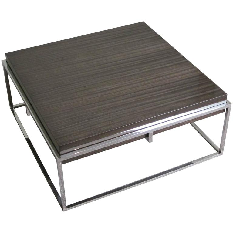 Square Polished Stainless Base, Wood Top Coffee Table, Belgium, Contemporary For Sale