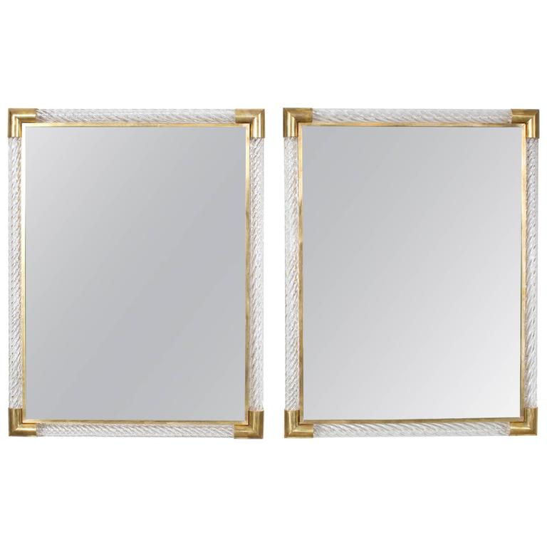 Italian Pair of Murano Mirrors by Ongaro e Fuga