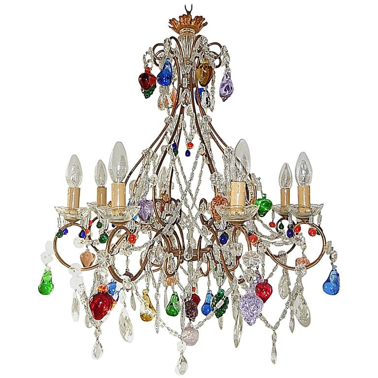 1920 Italian Murano Colorful Fruit Chandelier At 1stdibs