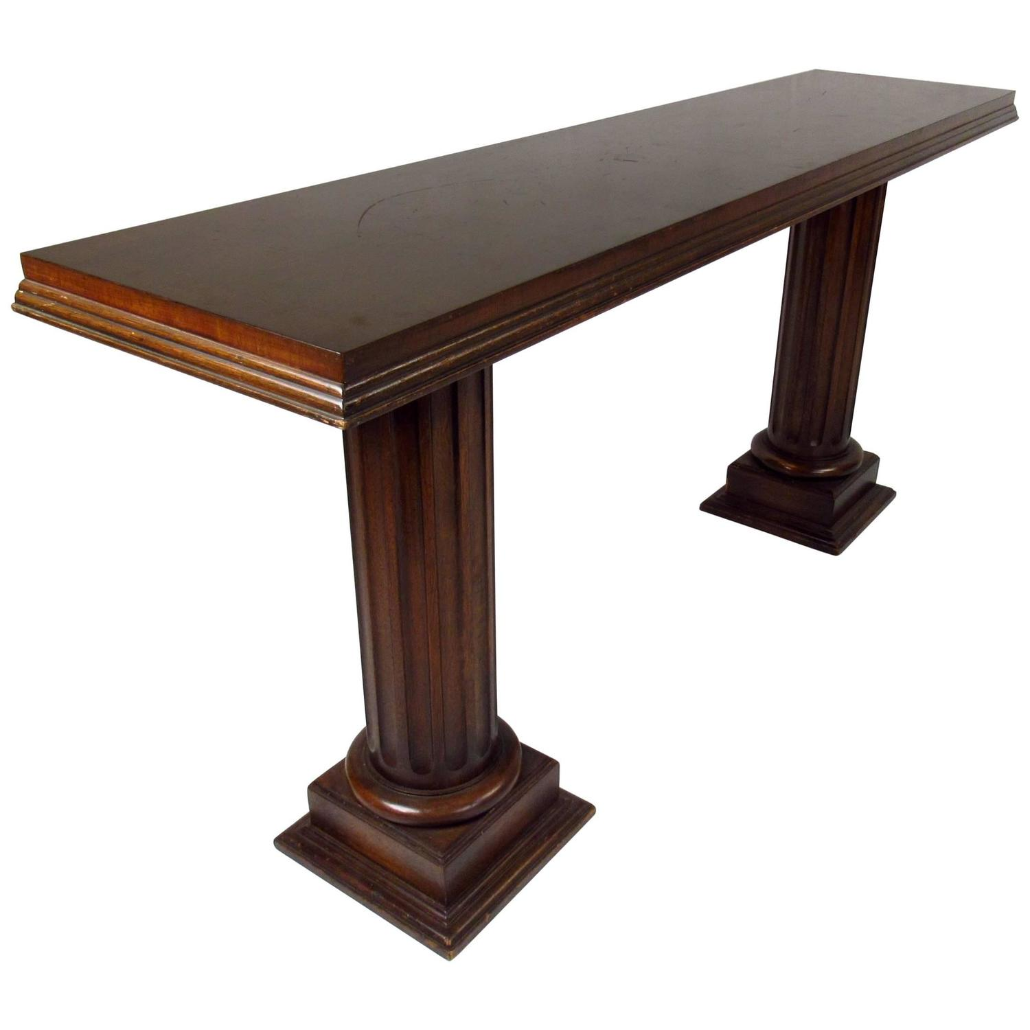 Midcentury double column sculpted console table at 1stdibs for Table column
