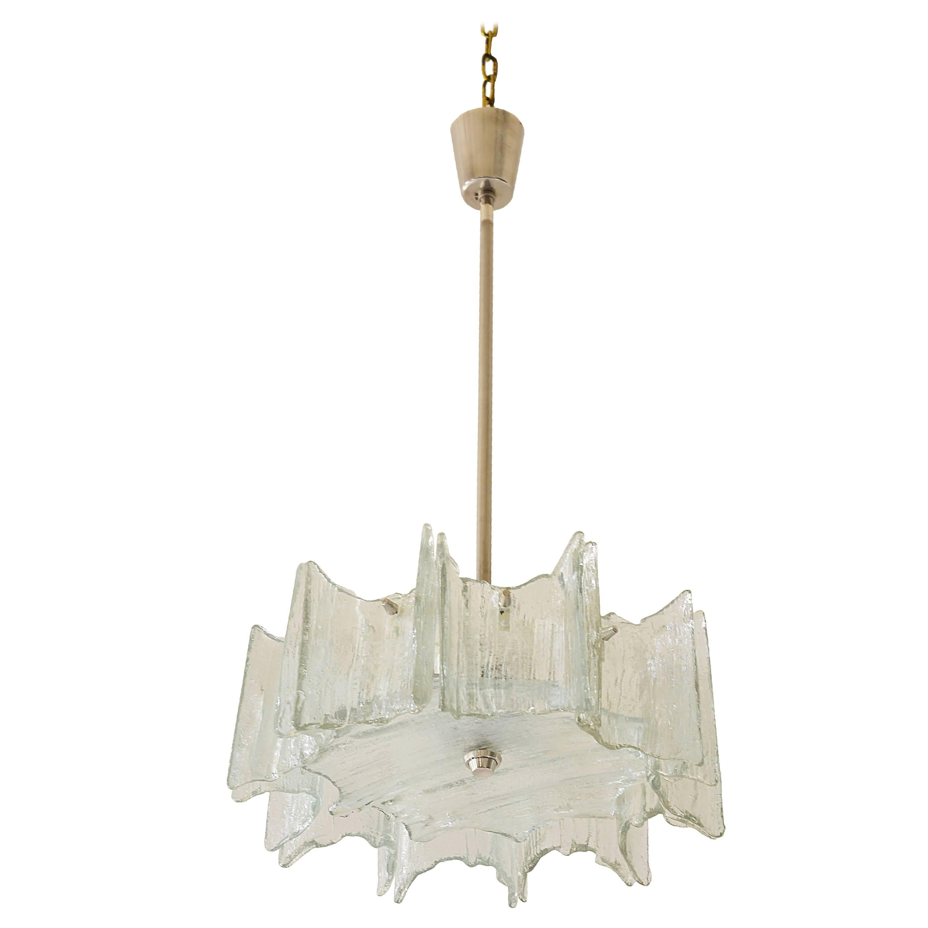 Kalmar Frosted Glass Chandelier, Austria, 1960s