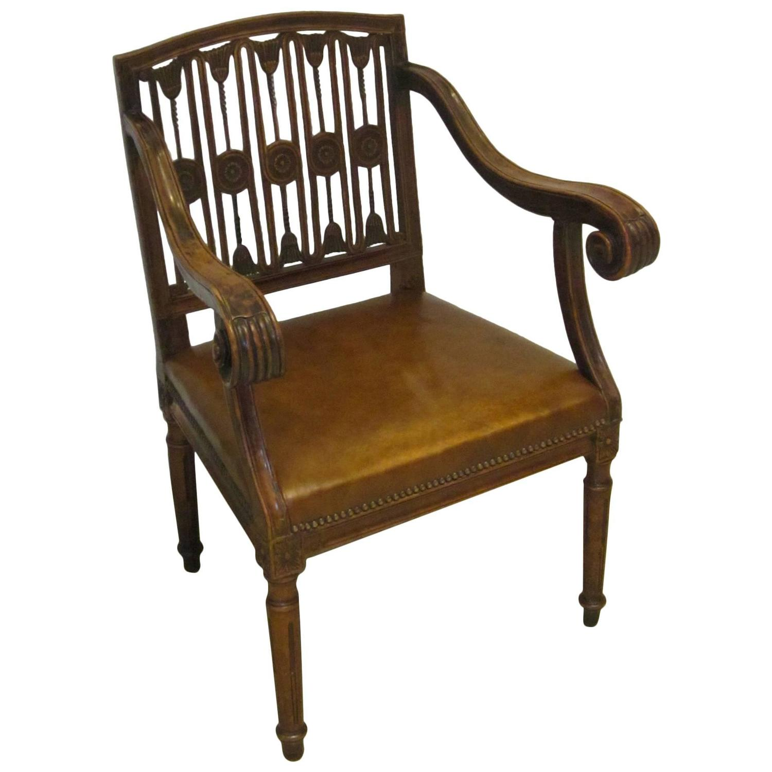 Th century desk chair scroll arm and leather seat