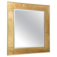La Barge Mirror with Eglomise Style Panels Depicting Chinoiserie Scenes in Gold