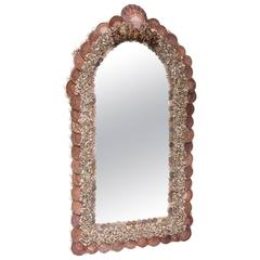 Palm Beach-Glam Bespoke Arch-Topped Grotto Mirror with Sea Shells