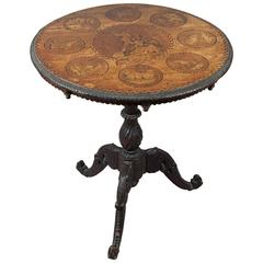Wonderful Carved Marquetry Table, Swiss Brienz, 1900