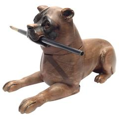French 19th Century Carved Wood Inkwell Dog