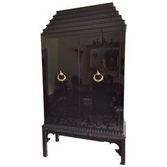 Glamorous Black Laquer Pagoda Style Bar Cabinet