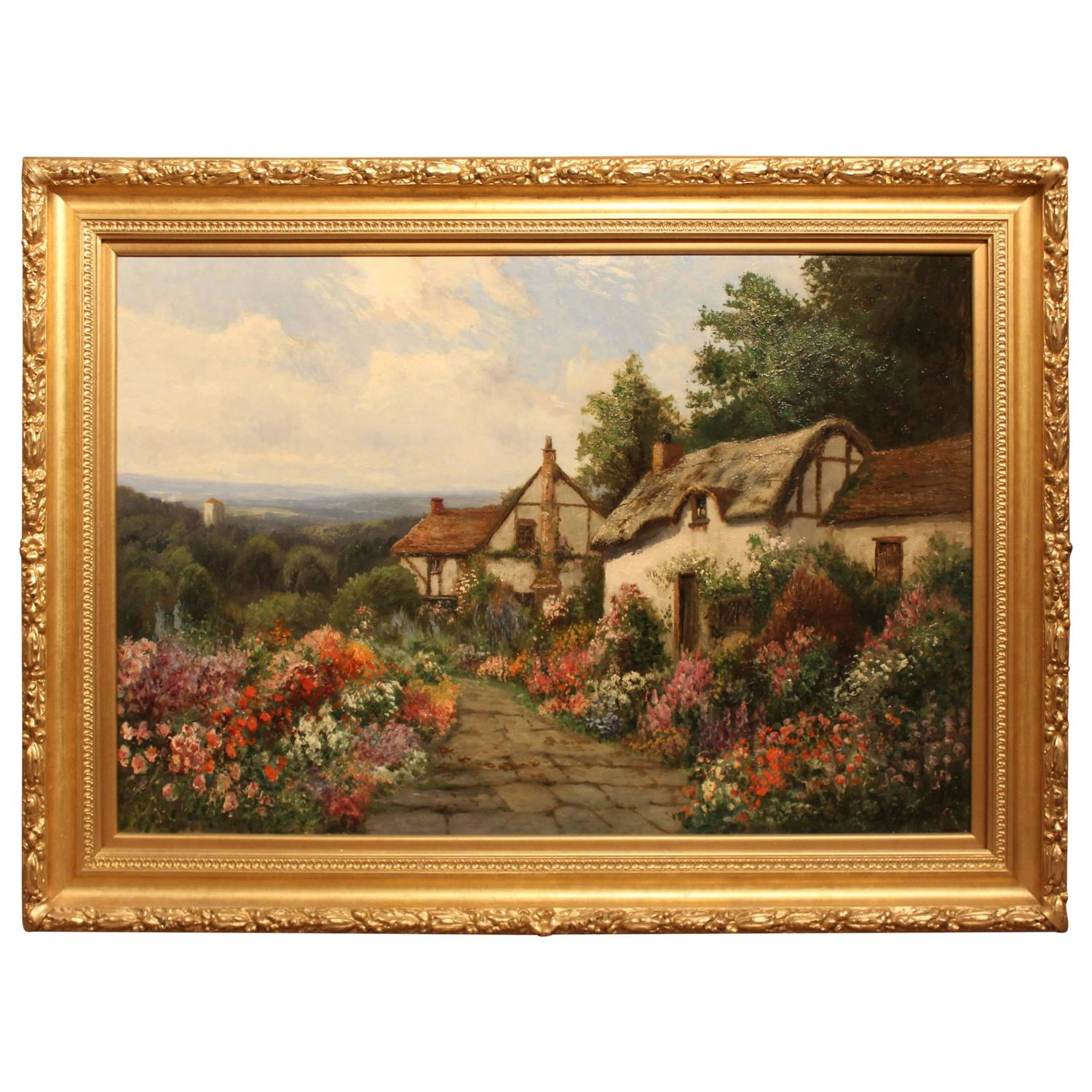 English Country Garden Oil Painting By Daniel Sherrin At 1stdibs
