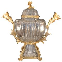 A Fabulous Center Piece of Ribbed Crystal and Gilt Bronze.